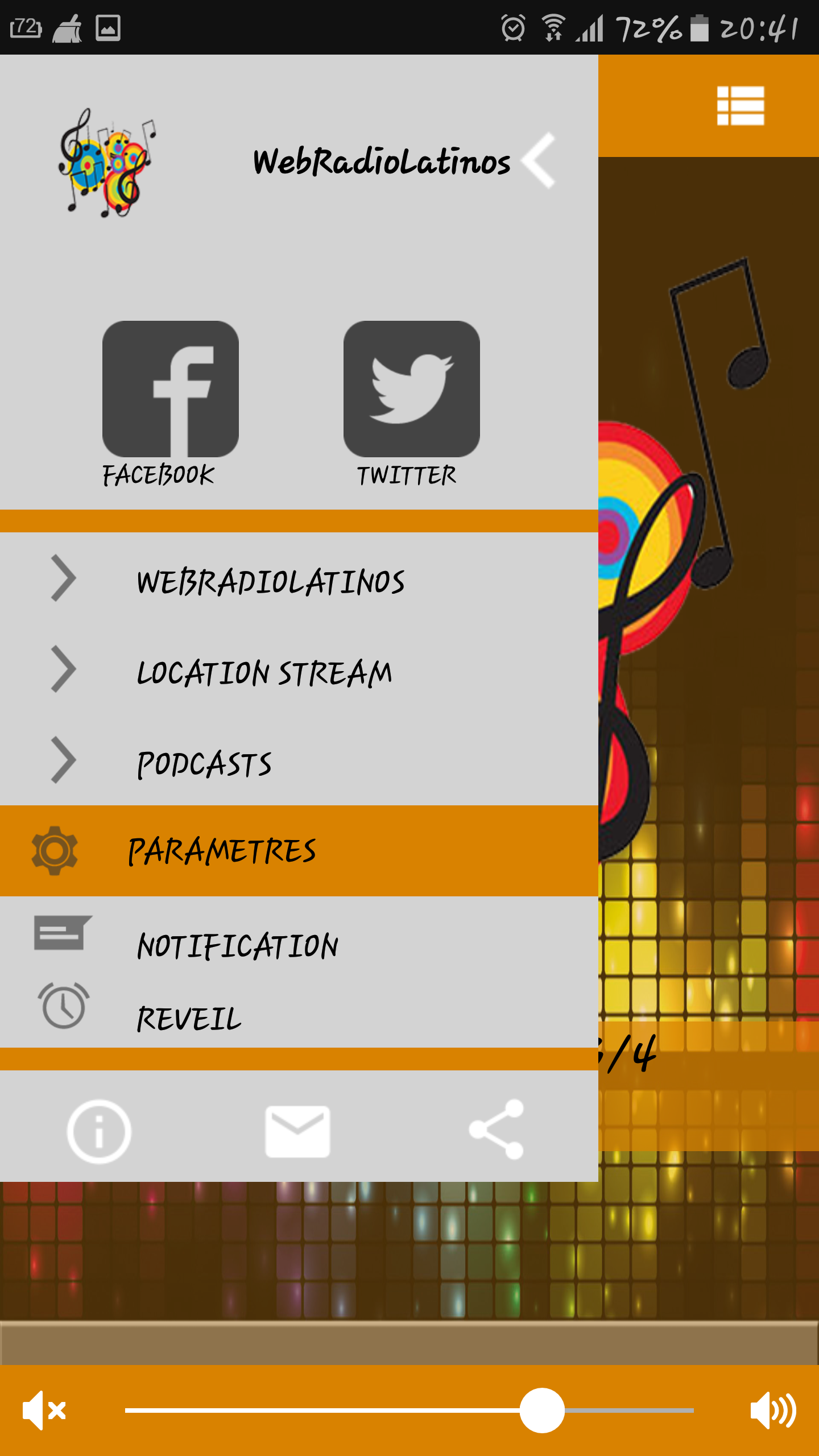 Application webradio Android Iphone menu liens Facebook Twitter Siteweb