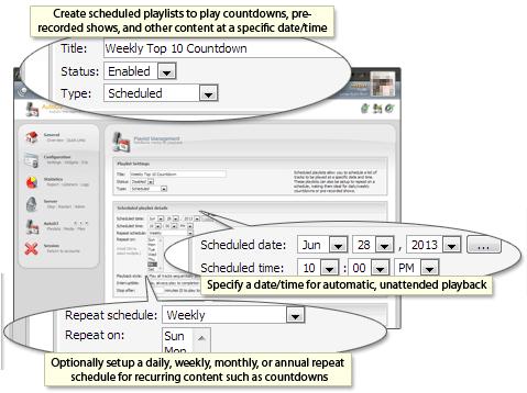 CentovaCast, Listes de lecture programmées ou planifiées