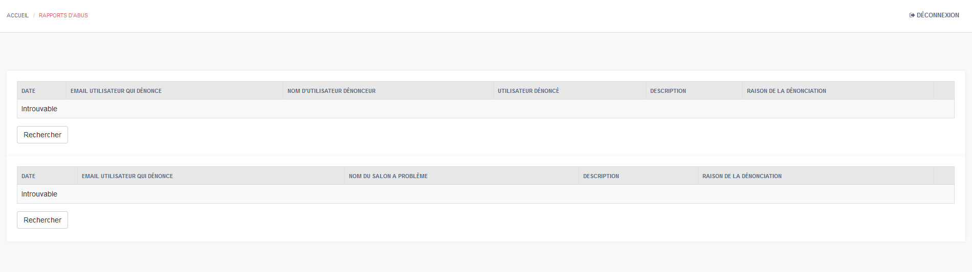 Rapport d'abus d'utilisateurs du salon de chat webcam html5