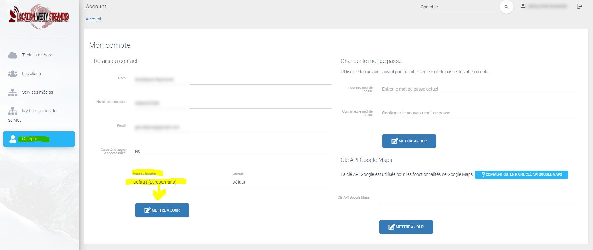 modifier fuseau horaire manager webtv