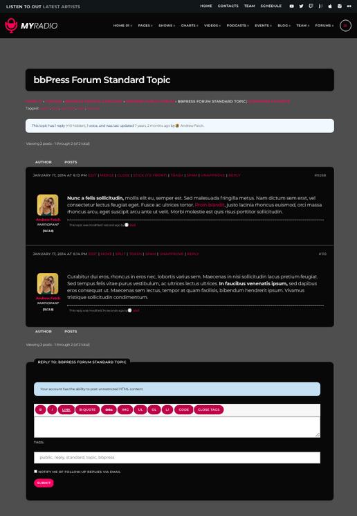 Créez un forum avec bbPress dans Wordpress Pro.radio