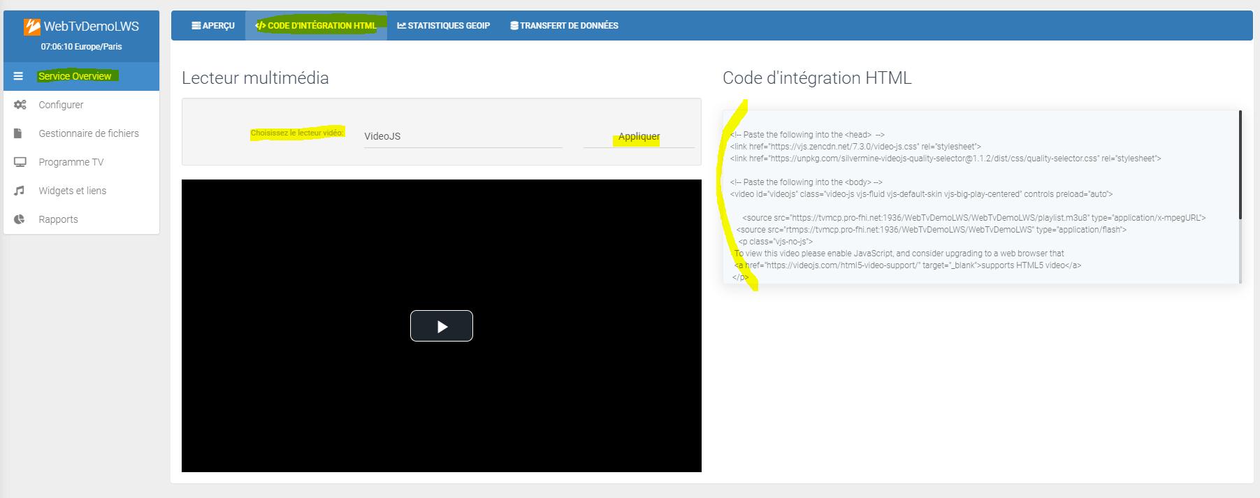 Intégrer le lecteur vidéo de ma webtv à mon site internet