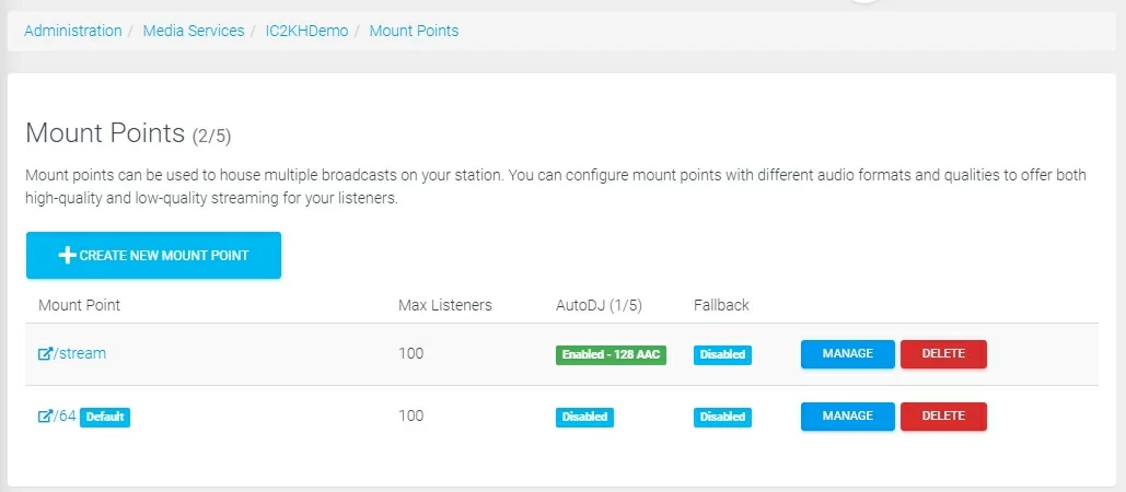 Gestion de points de montage multiple pour votre streaming radio
