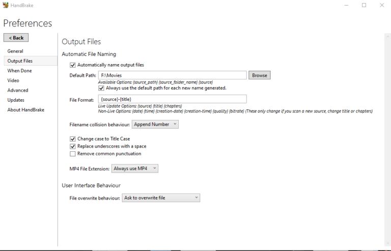 Définir le chemin par défaut et l'extension de fichier .mp4
