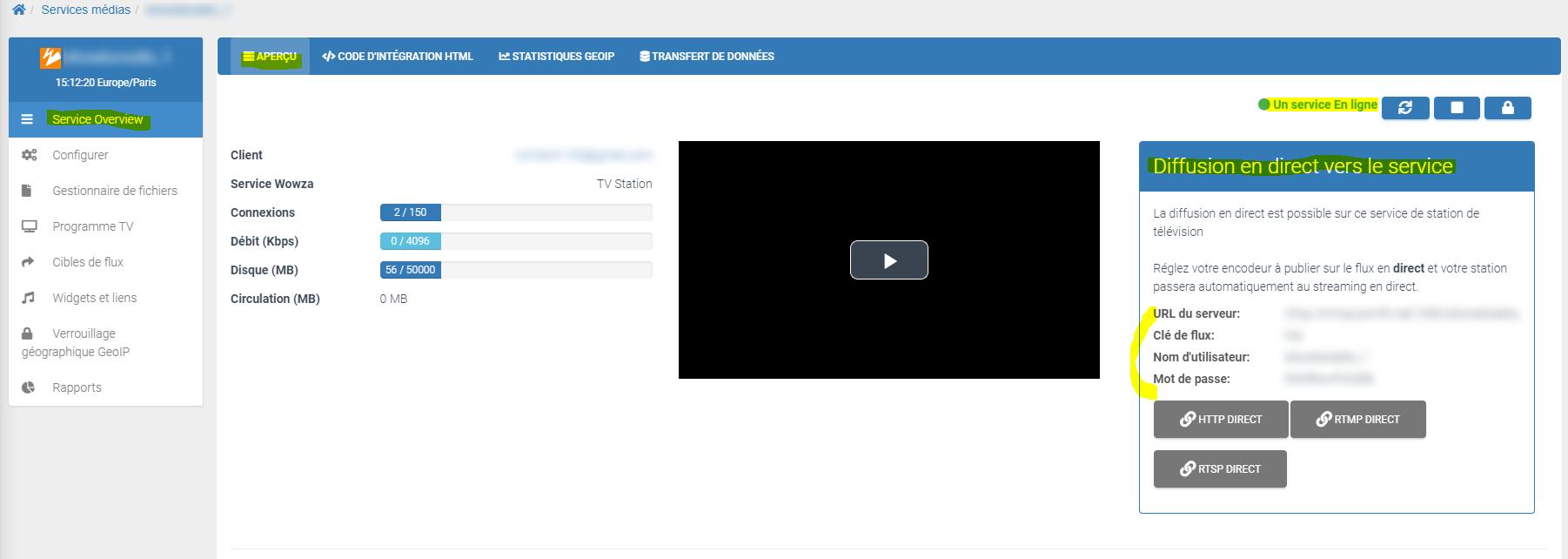Paramètres de connexion live vidéo streaming webtv TVMCP