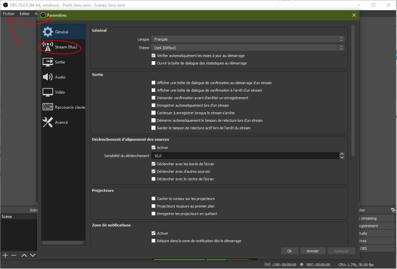 OBS configuration des paramètres de connexion streaming vidéo