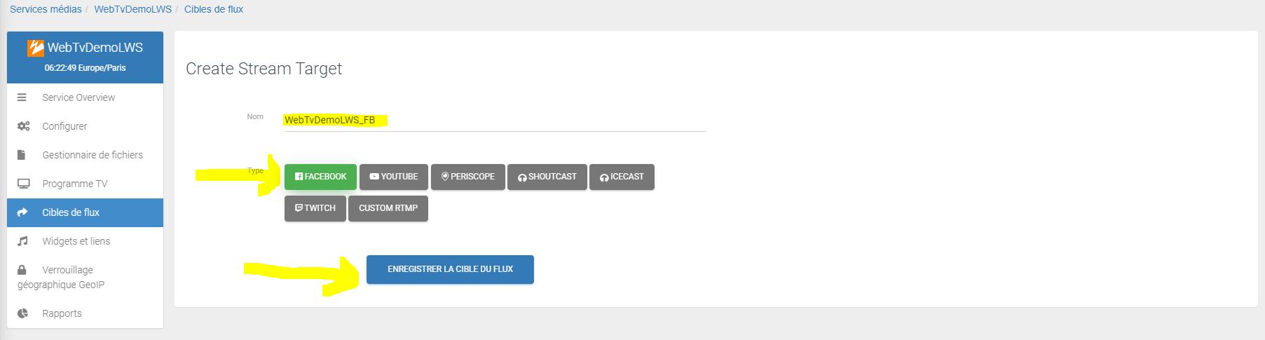 Définissez le réseau social pour diffuser votre webtv en direct