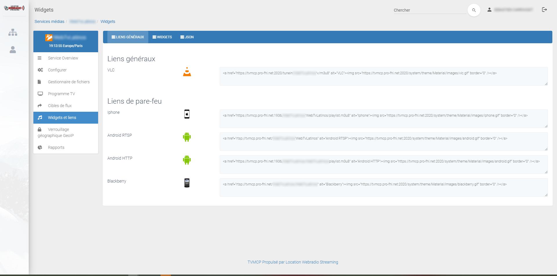 WebTv Panel WZTV - Widgets et intégration sur website