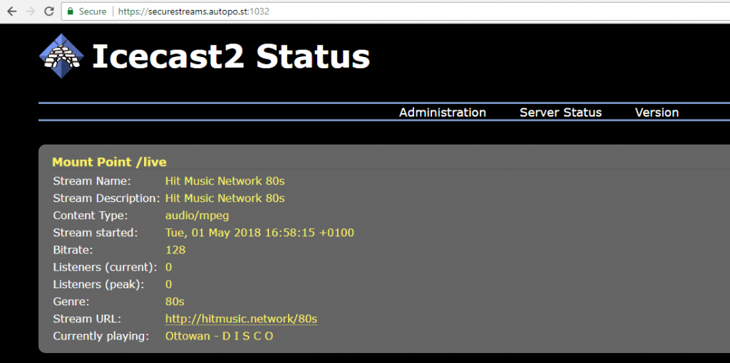 Icecast server secure HTTPS